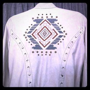 Free People vegan leather jacket Aztec Embroidery
